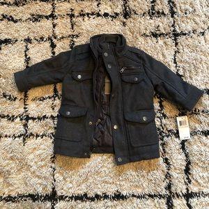 Boys charcoal winter peacoat  jacket
